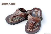 Hot!!!2013 free shopping men fashion PU material metal decoration leisure flip flops sandals  size:40-44   #1007
