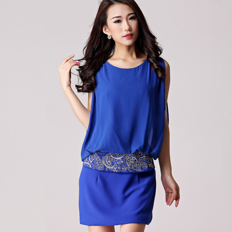 2013 fashion silk one-piece dress loose tank dress embroidered slim hip skirt(China (Mainland))