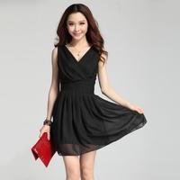 Juniors clothing summer plus size double V-neck sleeveless red bridesmaid chiffon one-piece dress