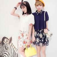 Sweet women's 2014 summer faux two piece patchwork short-sleeve chiffon one-piece dress