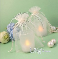 500pcs/lot Mini Jewelry Packing Bags Ivory white Organza Bags 9*12cm Pretty Pouches Wedding/Candy Gift Bags Free Shipping