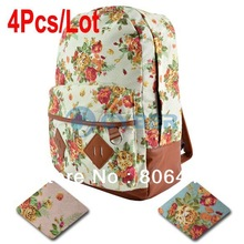 Wholesale 4Pcs/Lot Canvas Backpack College New Fashion Girls' School Bag Flowers Women Rucksack Schoolbag 15934(China (Mainland))