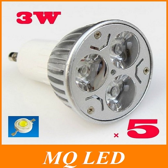 High power GU 10 3W, AC 85V-265V LED lamp NO dimmable In voltage,warm white,cool white BULB 330LM Free Shipping(China (Mainland))
