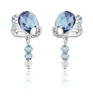 2013 wholesale Fashion Crystal Stone Jewelry Butterfly Sapphire Dangle Earring  E0211