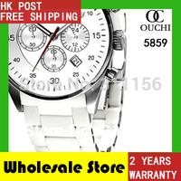 2014 Gift Free Shipping fashion casual top luxury brandmen watch quartz ceramic white mens sports watches AR5859 gift box
