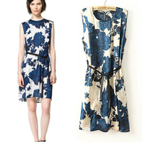 2013 autumn fashion o-neck orchid sleeveless faux silk belt one-piece dress female