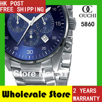 HK Post Free Shipping quartz New Mens luxury brand  full steel  AR5860 Chronograph Watch Blue Dial  Wristwatch + gift Box