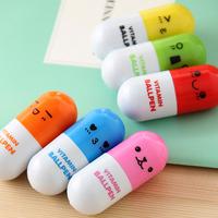 100pcs/lot_Hot sale novelty pen_Cute Smiling Face vitamin Pill BallPen Telescopic Vitamin Capsule Ballpen+Free shipping