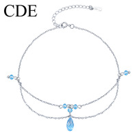 Cde 925 pure silver anklets female fashion austrian crystal double layer vintage silver jewelry