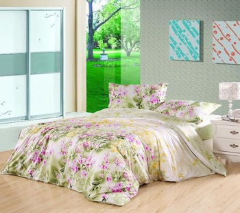 "2013 New 4Pcs 100% cotton Rural "" Fashion - green "" bedding set quilt covers home accessories Free shipping A182"