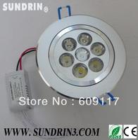 $10 per $100 DHL Free shipping 10pcs/lot 7w high power led ceiling light 85-265V 1w/led 630lm