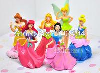 Free shipping PVC Princess Ariel Cinderella Snow white Figure Toy Girl Gift (6 pcs/set ) Wholesale