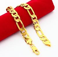 24KRGP Bracelets - PBDH51 rose gold 8mm figaro chain bracelets men's bracelets 24k gold plated bracelets and bangles for men