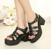 summer fashion platform sandals ladies punk shoes pumps chunky high heels belt buckle casual 8cm female SXX33964