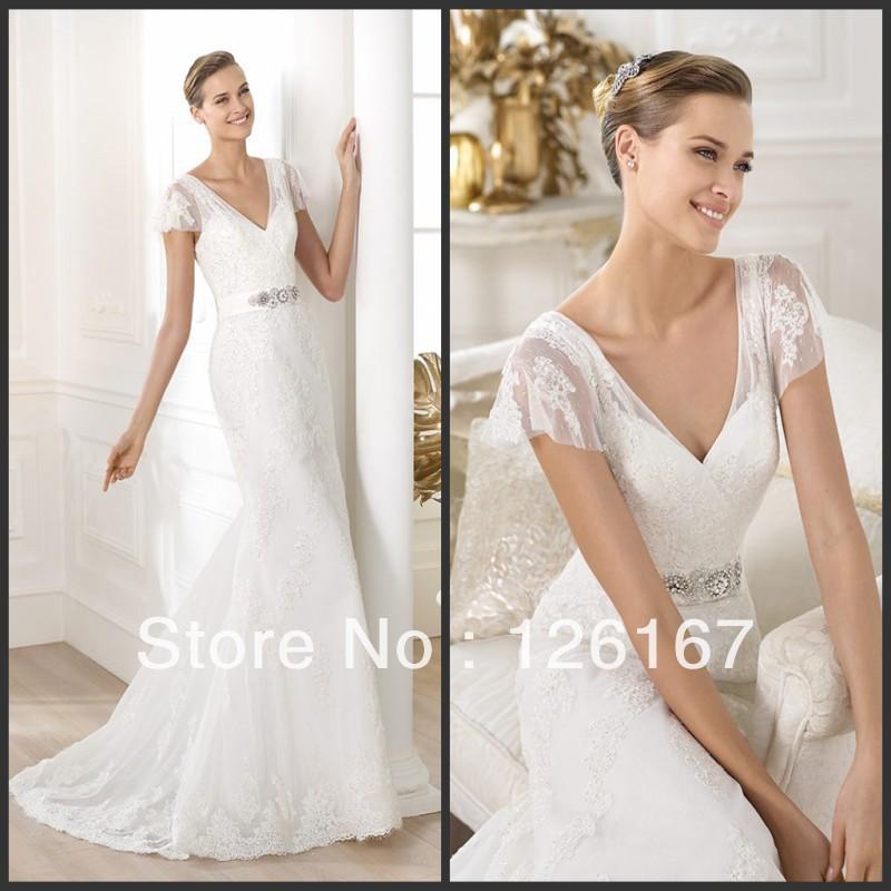 - Free-Shipping-New-Fashion-Style-Short-Sleeve-Crystal-Beaded-Ribbon-Sash-Imad-Karam-Wedding-Dress