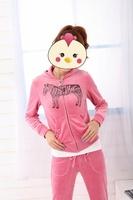 High quality velvet set female sweatshirt set embroidery casual set sports set