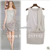 Женское платье 2013 summer new women's fashion sweater dress gauze stitching lapel flouncing chiffon dress ZZ3