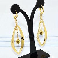 Fashion Jewelry Women Girls Leaf Shape w Beads Drop Earrings 18K Yellow Gold Filled Earrings Dangles Free Shipping GFE11