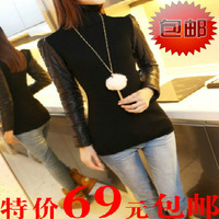 Free Shipping 2013    Cotton medium-long down basic shirt patchwork sweater female knitted turtleneck slim thickening