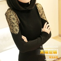 Free Shipping 2014  Spring basic sweater lace sleeve turtleneck solid color  shirt sweater  42272