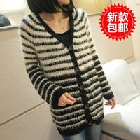 Free Shipping 2013     spring women's stripe outerwear medium-long mohair cardigan sweater all-match sweater female