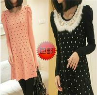 Free Shipping 2013    Loose polka dot sweet women's long design sweater rabbit fur sweater dress one-piece dress