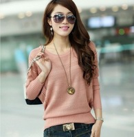 Free Shipping 2013     spring women's cutout batwing shirt basic sweater loose thin sweater