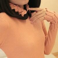 Free Shipping 2013    Elastic slim pineapple turn-down collar sweater basic shirt basic sweater female