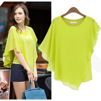 2013 new European and American commuter T-shirts bat shirt short-sleeved chiffon flounced  short-sleeve T-shirt  S M L XL 9339#