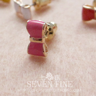 Candy color bow 6 small stud earring compounding filling sweet fashion color(China (Mainland))