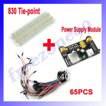 830 Tie-point  Position Point Solderless PCB Breadboard + 65pcs Jump Wire Male to Male +Breadboard Power Supply Module    FZ0041
