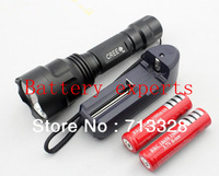 Tactical Torch Light Flashlight UltraFire C8  CREE Q5 +2x 18650 battery+Charger EU/US,plug,Waterproof ,