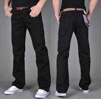 2013 New Fashion Large Size Slim Fit Classic Men's Denim Jeans Black Color Plus Size Trousers Straight Pants Men + Free Shipping