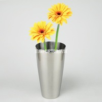 Free shipment Stainless steel vase flower pot flower taper light