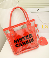 New arrival women's handbag 2013 female one shoulder jelly bag handbag fashion transparent bag beach bag