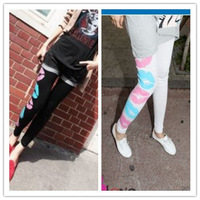 Autumn milk, silk multicolour large ankle length legging trousers female