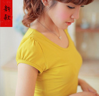 13 100% cotton short-sleeve all-match basic bubble short-sleeve t solid color short-sleeve slim multi-color