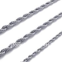 "CC21075  18""-26"" 2.0mm Men's Women's Stainless Steel Necklace Twist Chain"