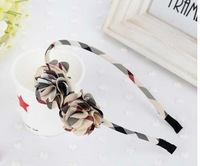 Free shipping wholesale 2013 new British style plaid bow flower design hair bands for kids ribbon headband women girls headwear