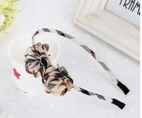 Free shipping wholesale 2013 new British style plaid bow flower design hair bands for kids ribbon headband women girls headwear