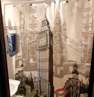 Free Sgipping Wholesale And Retail Promotion  NEW Euro London Big Ben Pattern Bathroom PEVA Shower Curtain Waterproof W/ Hooks