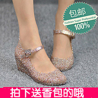 Trade . summer new arrival wedges sandals female plastic hole shoes cutout flower crystal jelly shoes fashion