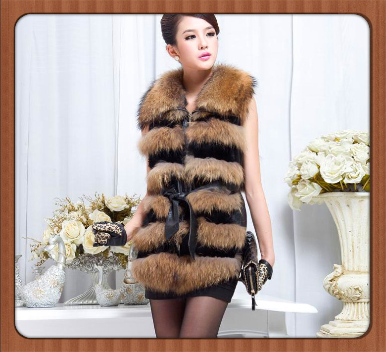New arrival 2013 unique raccoon fur sheepskin medium-long fur vest female(China (Mainland))