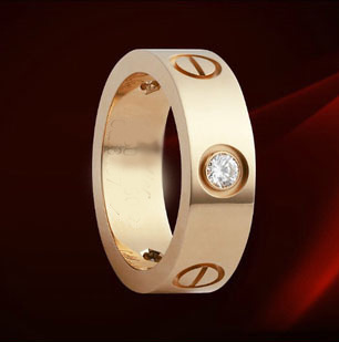 18k rose gold screws ring lovers ring diamond ring male female(China (Mainland))