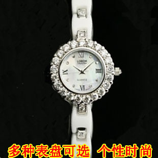 Women's watch ceramic table bracelet watch fashion shell diamond ladies watch fashion table white(China (Mainland))