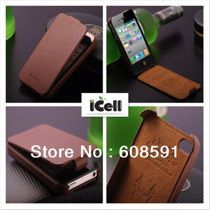 Luxury Genuine Leather case for iPhone 4 4S , Original Real Cowhide Flip leather cover for iphone4 , MOQ:1pcs free shipping(China (Mainland))