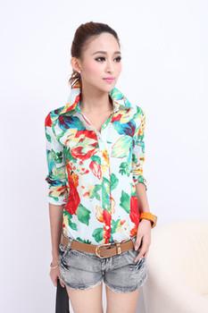 Women Casual Flower T Shirt Lady Button Down Shirt Blouse Short Sleeve Tops E