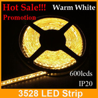 promotion!!! Warm White  LED flexible  Strip Light 5M 3528 600LED DC12V Non-Waterproof  tape