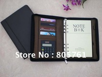 HOT!!free shipping leather notebook,spiral notebook,organizer notebook with calculator