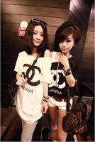 Free shipping,Hot selling, fashion t-shirt Women's 2013 spring shampooers loose short sleeve medium long cotton t-shirt